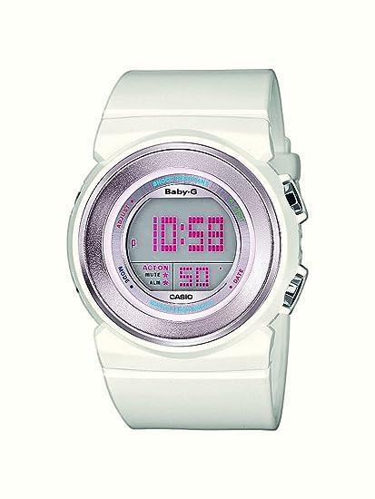 Casio Baby-G - Reloj digital de mujer de cuarzo con correa de resina blanca (alarma, cronómetro, luz) - sumergible a 100 metros: Amazon.es: Relojes