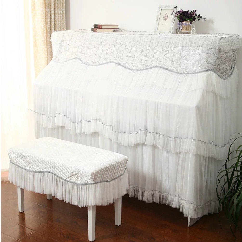 unusual ピアノカバーセット レース ピアノカバー おしゃれ フルピアノカバー 防塵カバー 椅子カバー 姫系 高級 引越し祝い インテリア ピアノカバー153×33×120cm+椅子カバー58×38cm  B01N6O5COR