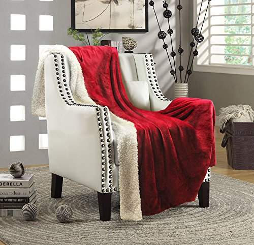 "Genteele Super Soft Luxurious Sherpa Throw Blanket, 50"" X 60"", Rich Burgundy Red"