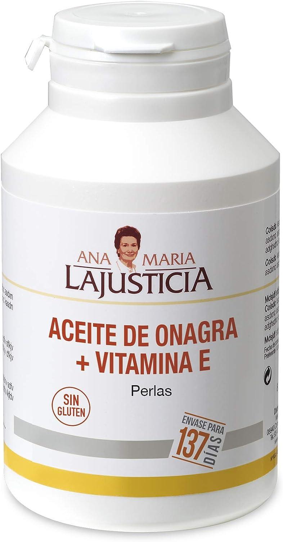 Ana Maria Lajusticia - Aceite de onagra – 275 perlas. Alivia dolores menstruales, los síntomas de la menopausia y el síndrome premenstrual. Envase para 137 días de tratamiento.