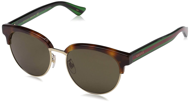 c3e91f5e57 Amazon.com  Gucci Fashion Sunglasses GG0058SK 003 Havana Green Frame And  Polarized  Clothing