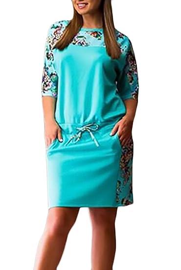 Vestidos Mujer Verano Cortos Vestido Elegantes Manga Corta Moda Estampado Flores Vestidos Camiseros Vestidos Tallas Grandes