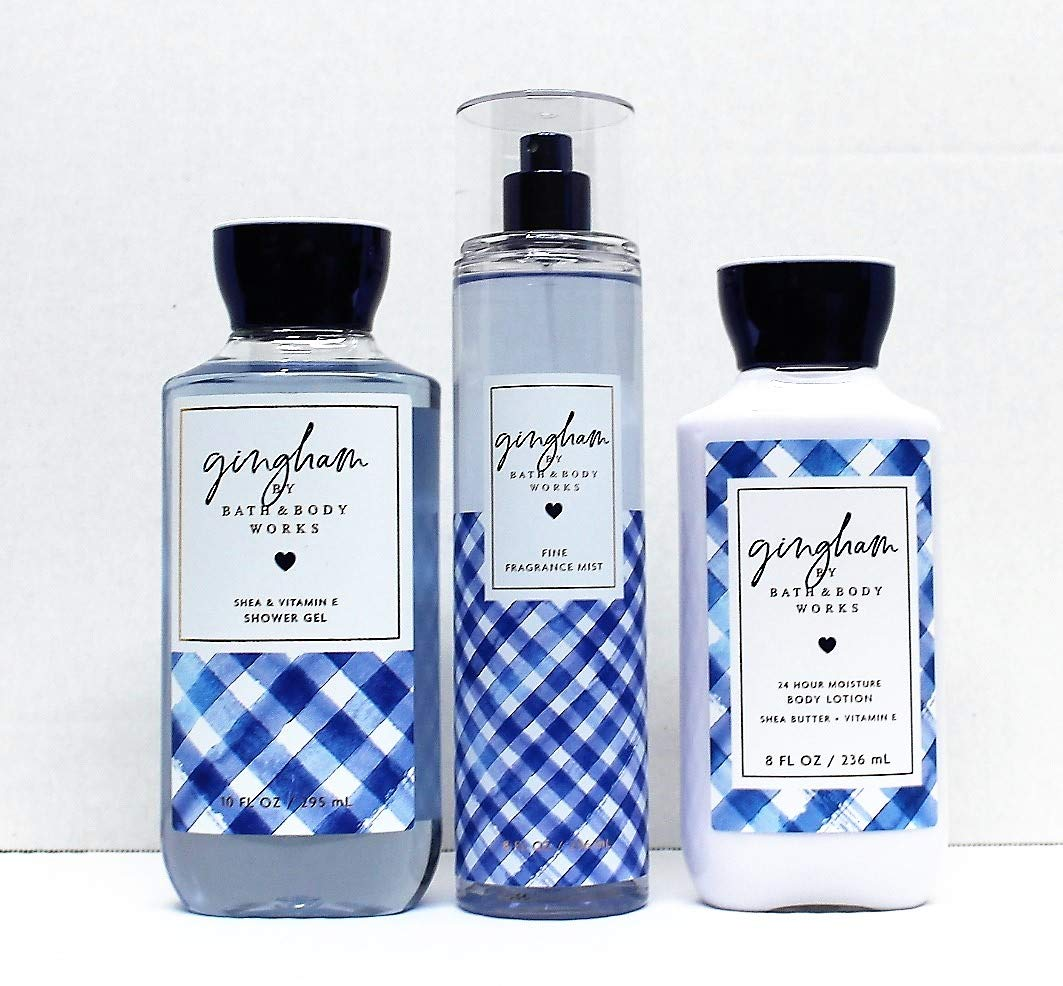 Bath and Body Works - Gingham - The Daily Trio Gift Set Full Size - Shower Gel, Fine Fragrance Mist and Super Smooth Body Lotion - 8 fl oz - 2019 : Beauty