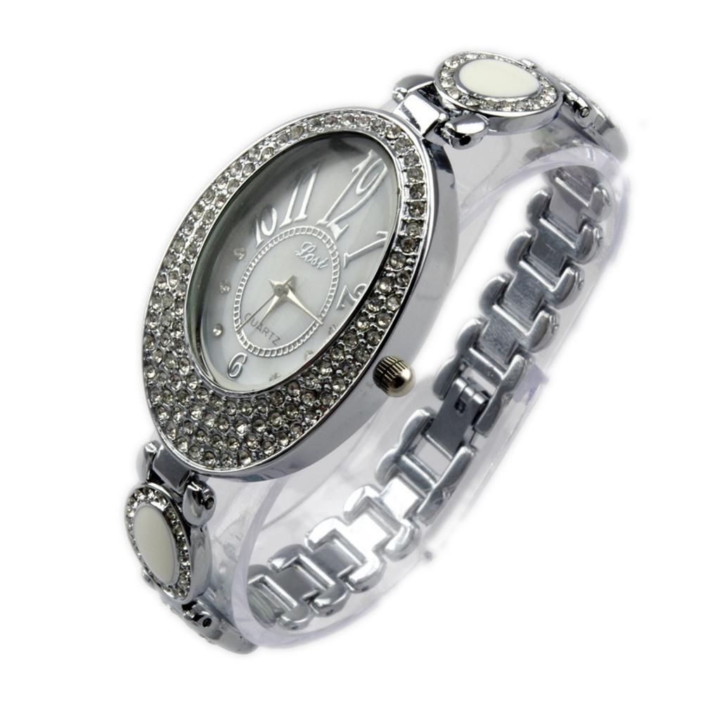 YARUIE 1 Reloj De Pulsera Acero WH016 Con Diamente De Imitacion Reloj Forma De Eliptico Para Mujer Plato: Amazon.es: Joyería
