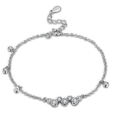 b4afe31279de Pulseras para Mujer Plata de Ley 925 Pulsera Niña Brazalete Elegantes de la  Hoja Grabada Encanto