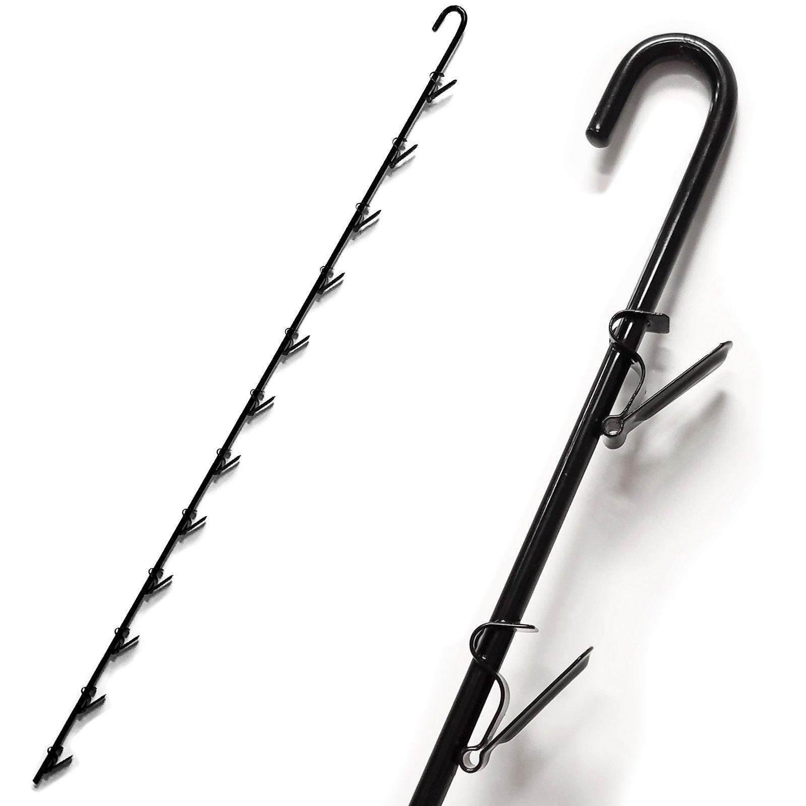 Heavy Duty Metal Merchandising Hanging Clip Strip Display w/ 12 Item Hangers 29'' L - Black, 5 Pack