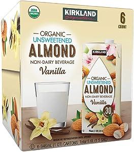 Kirkland Signature Organic Non-Dairy Unsweetened Vanilla Almond Beverage Cartons: 6 ct. (32 fl. oz)