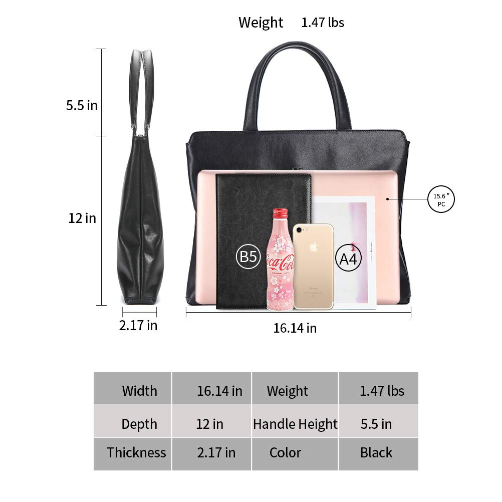 FEGER Genuine Leather Laptop Briefcases Slim Computer Bag Zipper Closure Business Handbags Tote Tablet Briefcase Case for Women and Man Fit A4 Files Black Large