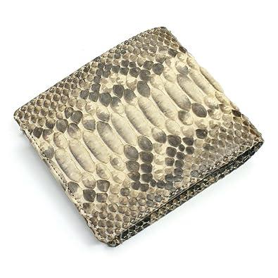9a331d55daab Amazon | MT1016-BEIGE 【ヘビ 革 財布 蛇 パイソン】二つ折り財布 ...