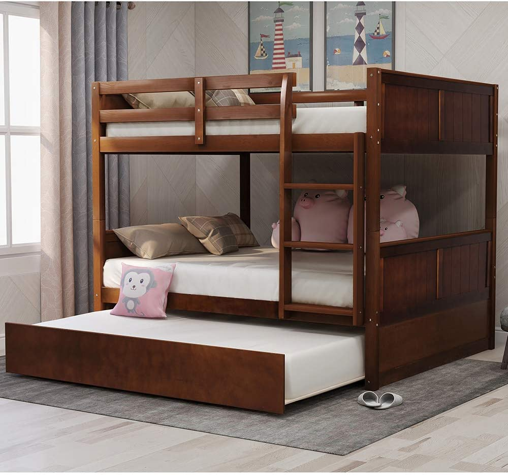 Amazon Com Full Over Full Bunk Bed Rockjame Solid Wood Bunk Beds With Trundle Space Saving Design Bedroom Furniture With Ladder And Safety Rail For Boys Girls Kids Teens And Adults Walnut Kitchen