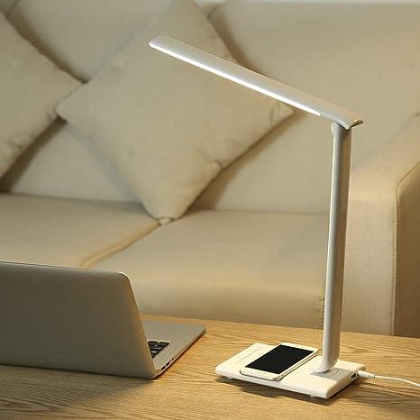 PAVLIT Lámpara de Mesa con Cargador Inalámbrico Qi, LED ...