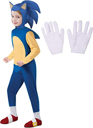 Bulex Sonic The Hedgehog Costume Boys Cosplay Jumpsuit Kids Gloves Headgear Outfit