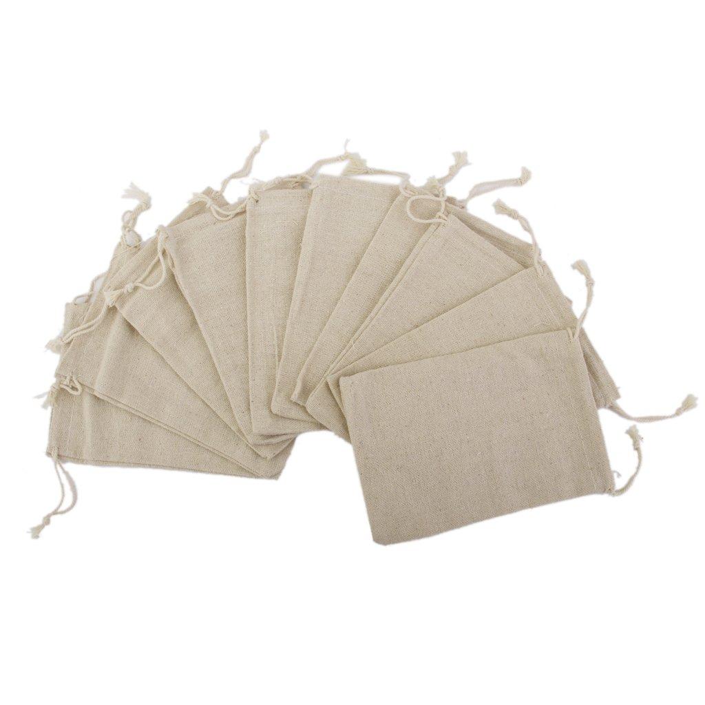 SunniMix Pack of 200 Wedding Bags Natural Linen Pouch Drawstring Burlap Jute Sack Gift Favor