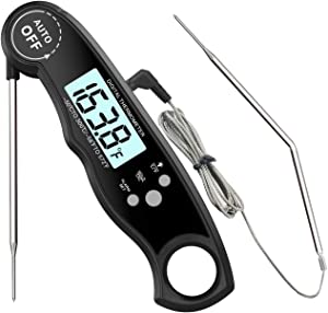 KANGYA Leave In Oven Safe Meat Thermometer, Updated Instant Read Dual Probe Digital Thermometer with Alarm Function Back light Magnet Base for Home Kitchen Outdoor Food Cooking Grill Smoker BBQ, Black