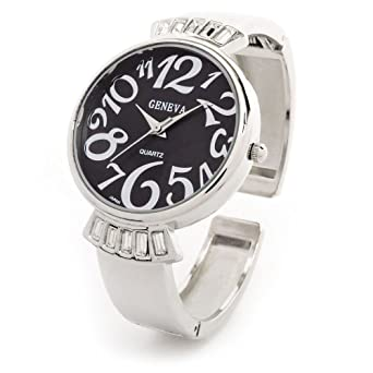 8b132f0c4 Image Unavailable. Image not available for. Color: Silver Black Crystal  Band Large Face Women's Bangle Cuff Watch