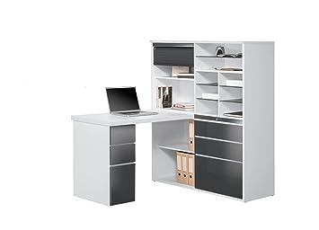 Matelpro bureau contemporain avec rangement blanc gris brillant