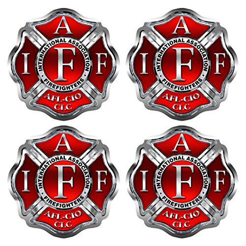 Firefighter - IAFF Cross - Hard Hat Sticker - 4 PACK #HH040 USA Helmet Vinyl Decal Tool box Fire Fighter International