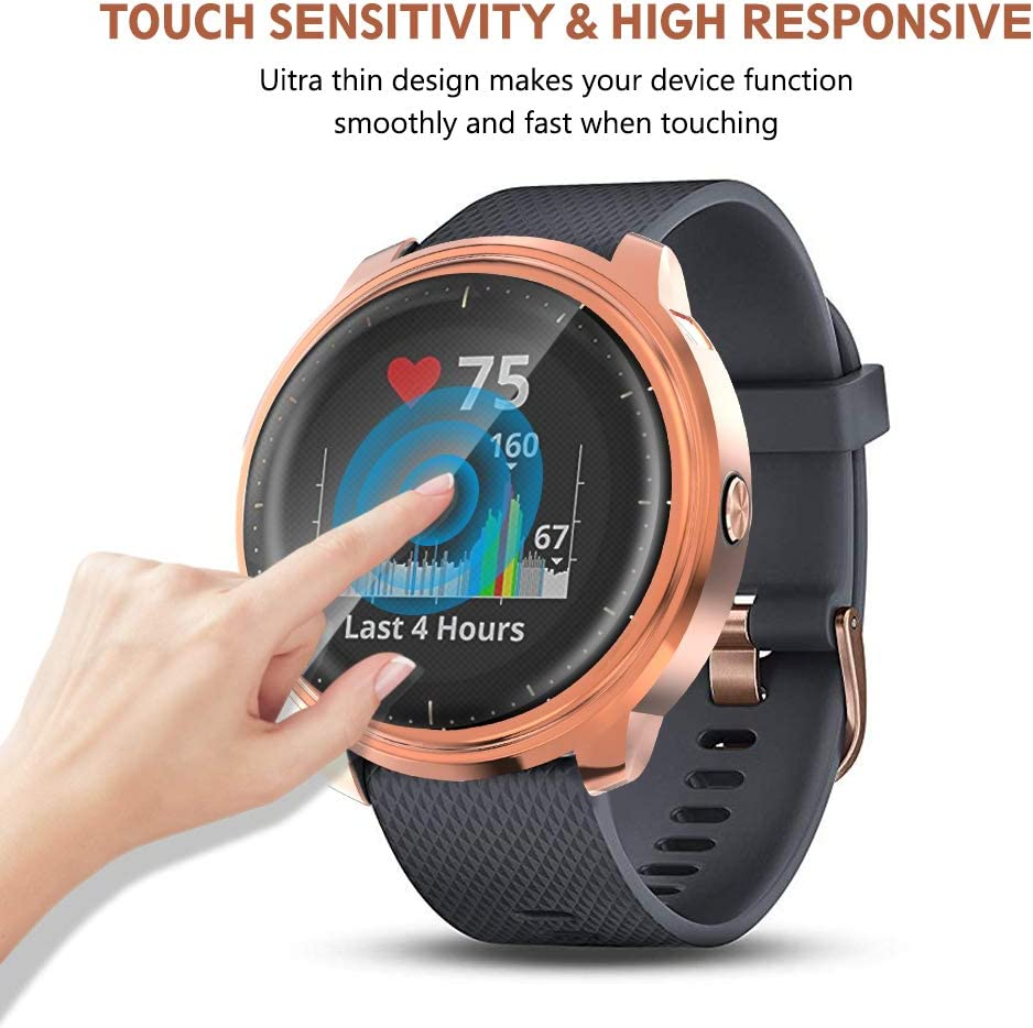 2-Pack Soft TPU Plated Screen Protector Rugged Cover Bumper All-Around Protector Screen Cover Bumper Shell Compatible with Garmin Vivoactive 3 Music GPS Rosegold+Black QIBOX Vivoactive 3 Music Case