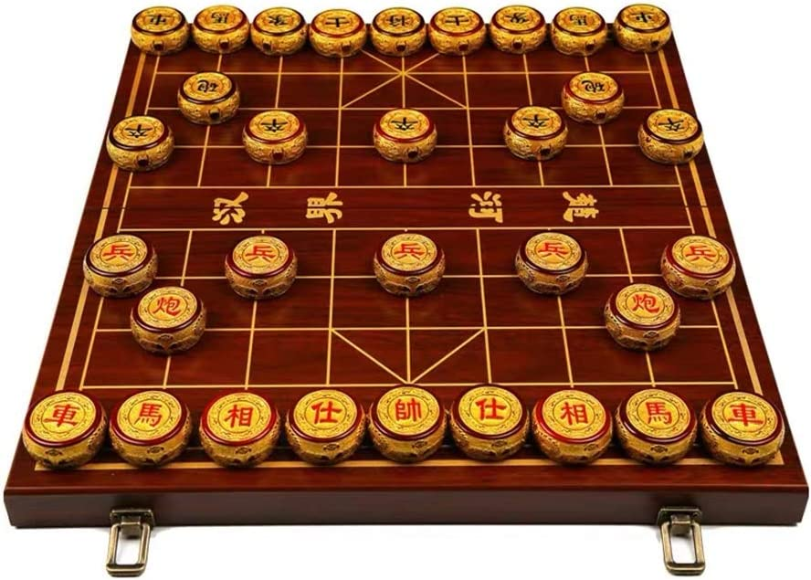 GZ Estrategia Juegos de Mesa Chinos de Xiangqi Juego de ajedrez Clase Material de Alta con el Tablero Plegable, for 2 Jugadores (Size : 6cm/2.4