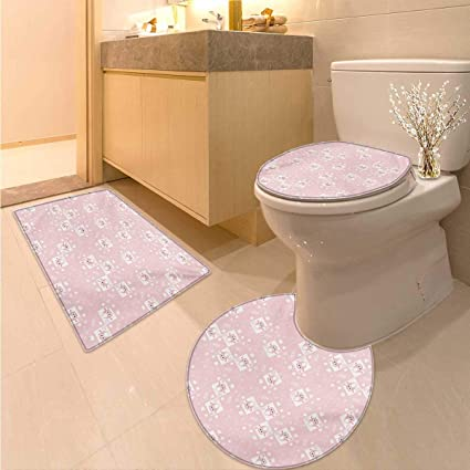 Amazon.com: Kids Bath Toilet mat Set Pink Owls and Little Birds on ...