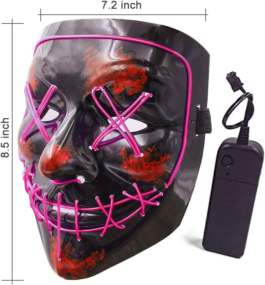 Flywind Halloween Scary Mask Cosplay Led Costume Mask Halloween LED Light Up Mask for Festival Cosplay Halloween Costume Blue El Wire Light Up Mask for Halloween Festival Party