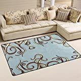 Naanle Octopus Tentacles Area Rug 3'x5′, Animal Polyester Area Rug Mat for Living Dining Dorm Room Bedroom Home Decorative