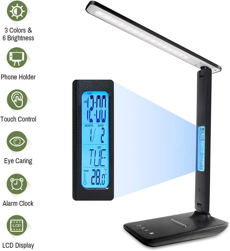 Lampada da scrivania a LED con Batteria Calendario Sveglia Display della temperatura ERAY Lampada da tavolo LED Lampada da scrivania con dimmerabile