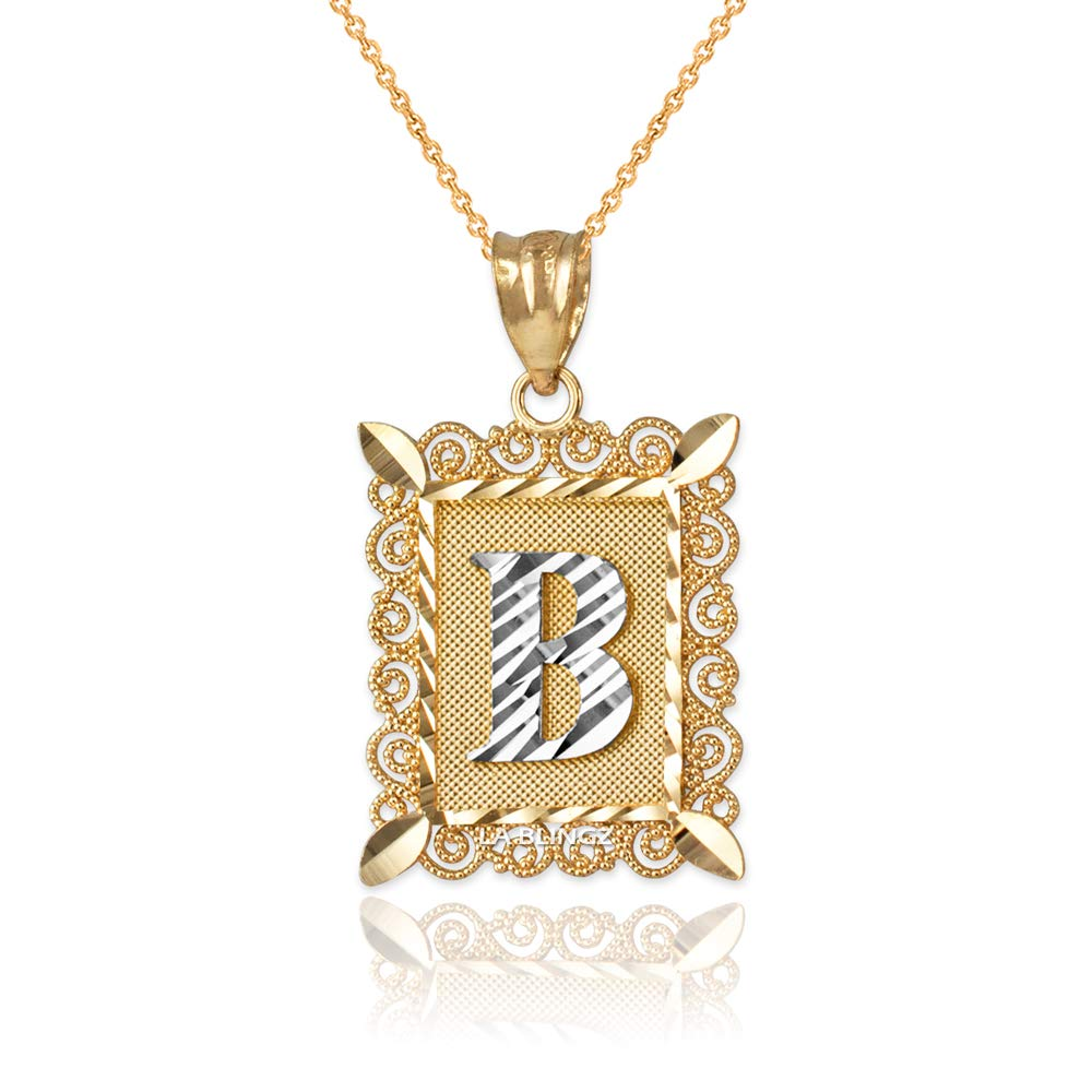 LA BLINGZ 14K Yellow Gold Filigree Alphabet Initial Letter B DC Pendant Necklace