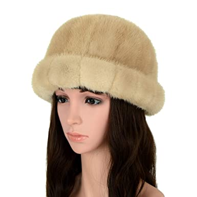 fc9d686f90c9c MH Bailment Women s Winter Fur Bucket Hat with Real Mink Fur Thick Stripes  Hats (M