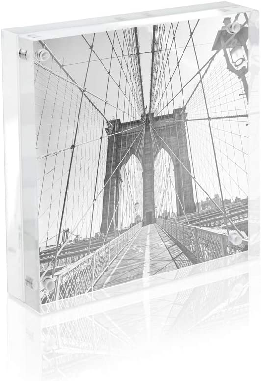"""Isaac Jacobs 5"""" x 5"""" Super Thick [28MM Thickness] Clear Acrylic Magnetic Block Picture Frame, Double-Sided, Frameless, Freestanding, Floating Photos, for Desktop & Tabletop Display (5x5)"""