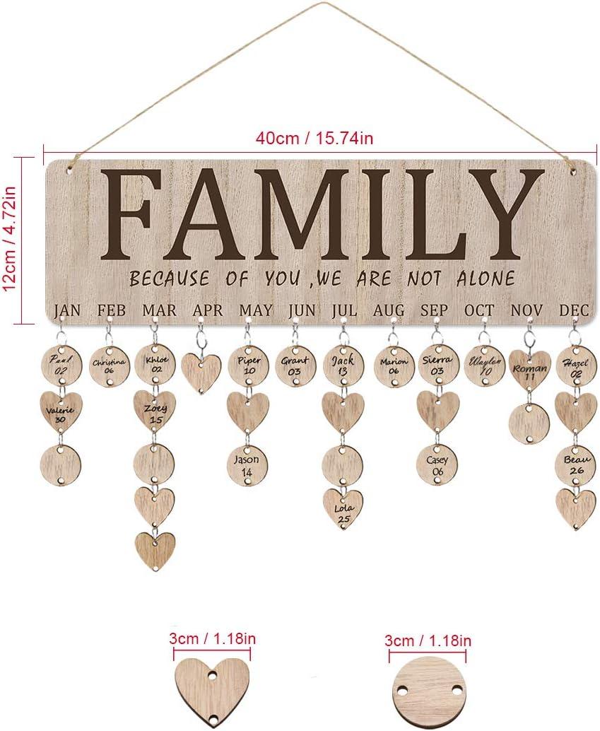 Legno DIY di Compleanno placca Hanging Calendario di Compleanno di Famiglia Consiglio Crafts Segno di Legno per la Famiglia Mamma pap/à Amici TOPofly Famiglia Amici Birthday Reminder