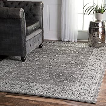 traditional vintage bloom in blossom bouquet dark grey area rugs feet inches 5x7 9x12 and white canada