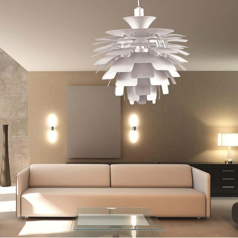 Designer Modern Artichoke Pendant Lamp 48cm In Silver   Ceiling Pendant  Fixtures   Amazon.com