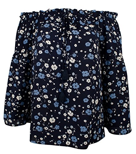 MICHAEL Michael Kors Verbena Floral Print Off-the-Shoulder Tassel Tie Top (Michael Floral Print)