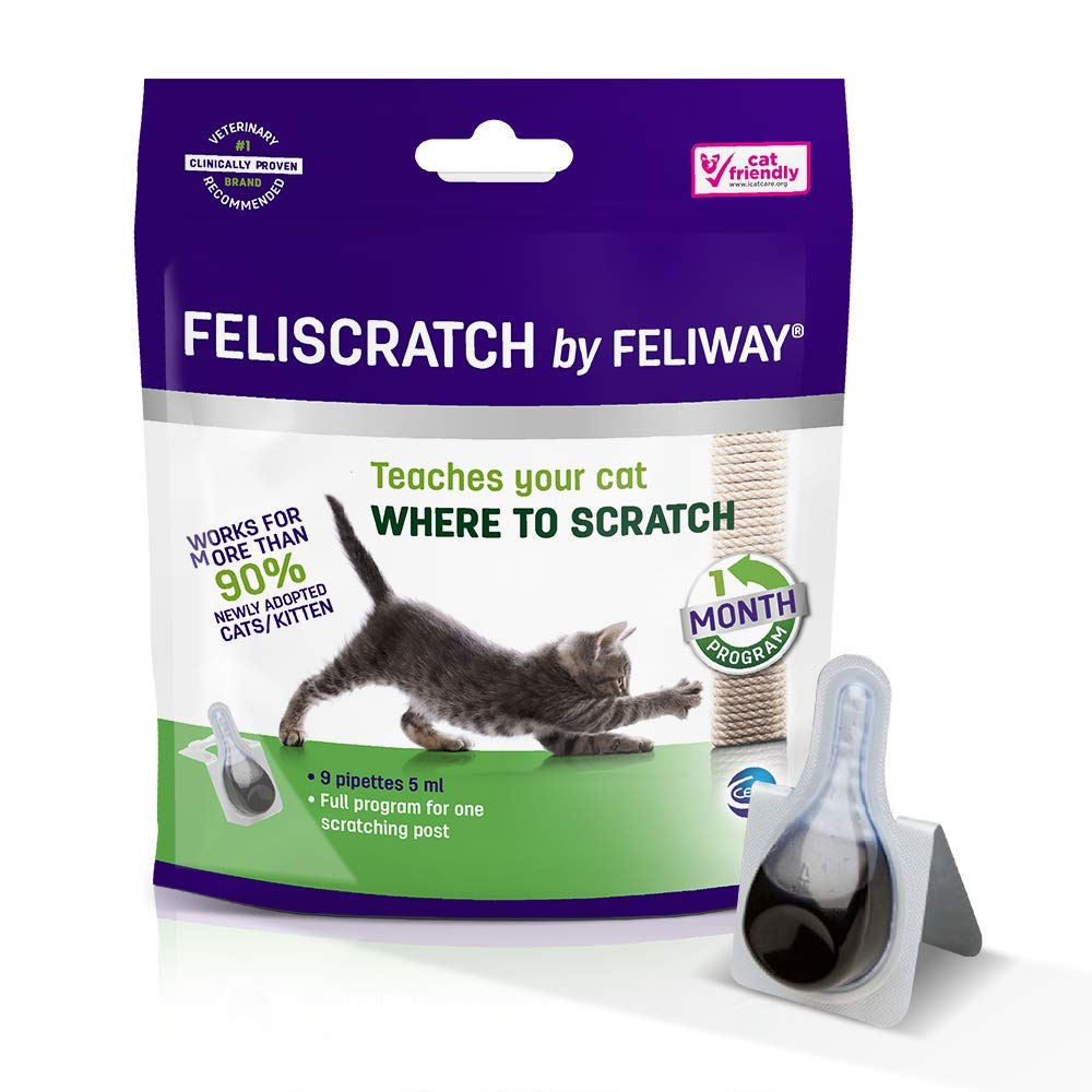 Feliway FELISCRATCH, Teaching Cats Where to Scratch and Helping Them to use Their Scratching Post - 1 Month Programme (9 pipettes) by Feliway