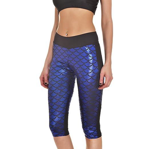 291b7037e223c Cresay Women's Seamless Capri Mermaid Leggings Running Yoga Pants at ...