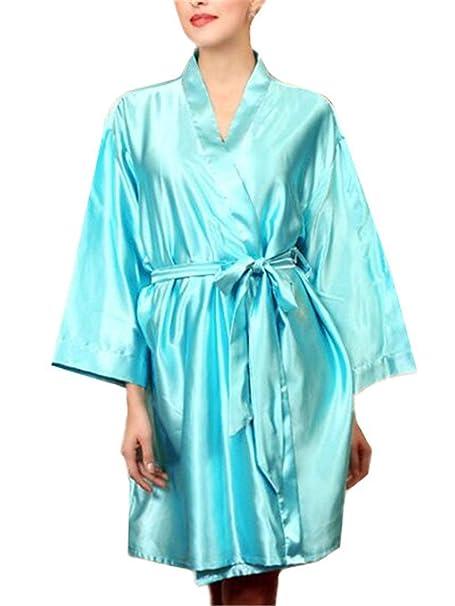 Mujer Albornoz Verano Satín Kimono Elegantes Moda Color Sólido Ocasional Basic Batas Manga Larga V-