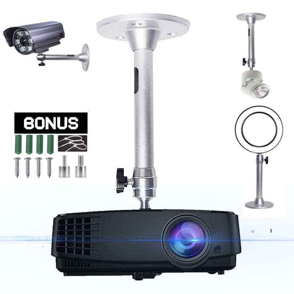 2-Be-Best ユニバーサル延長天井プロジェクターマウント ハンガー 360°回転可能なヘッド 延長可能な長さ 180mm/7.08インチ プロジェクション ミニプロジェクター CCTV DVRカメラ用 シルバー   B07R9T4M2M