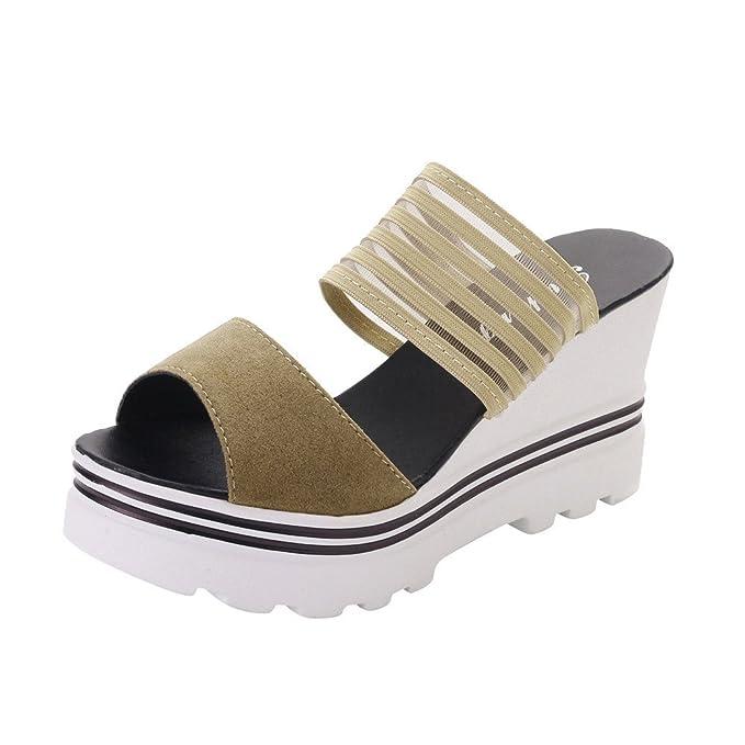 Zapatillas de Mujer Pescado Boca Plataforma Tacones Altos Cuñas Sandalias Zapatos Abiertos Zapatillas de Plataforma de tacón Alto cuña con Sandalias ...