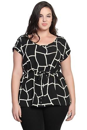 597b8832 TheMogan Women's Geo Black and White Print Belted Blouse Black-2XL ...