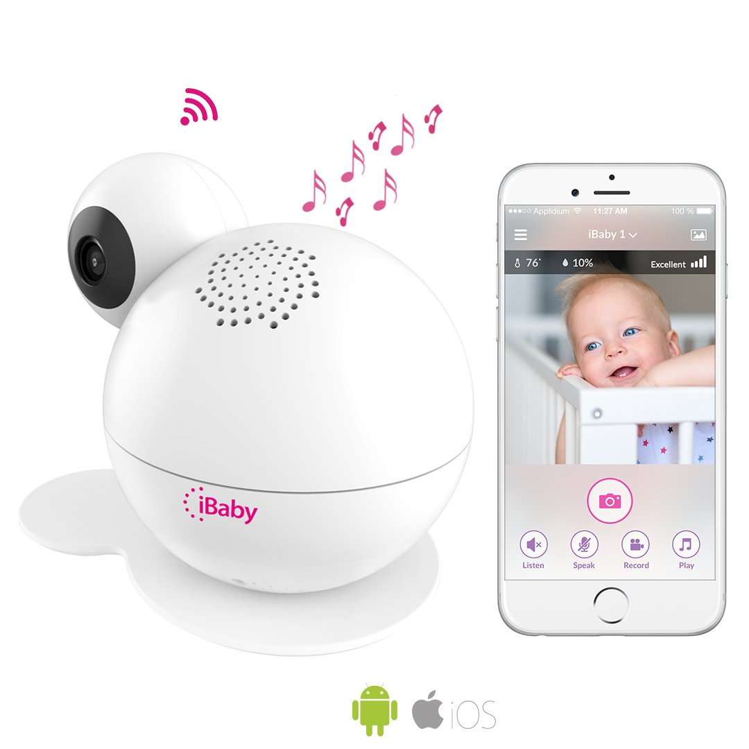 iBaby Premium Baby Monitor M6S,Smart Wifi Enabled Total Baby Care System 1080p Wireless Infant Safety Camera Kit with Wi-Fi Speakers, Night Vision, 360° Pan, Air Quality Sensor, Motion & Sound Alerts 360° Pan