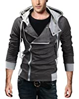 DJT Men Slim Fit Jacket Jacket Coat Gabardine Duffle Coat with Hood
