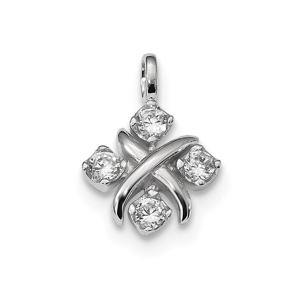 13mm x 18mm Jewel Tie Sterling Silver CZ Cubic Zirconia Pendant