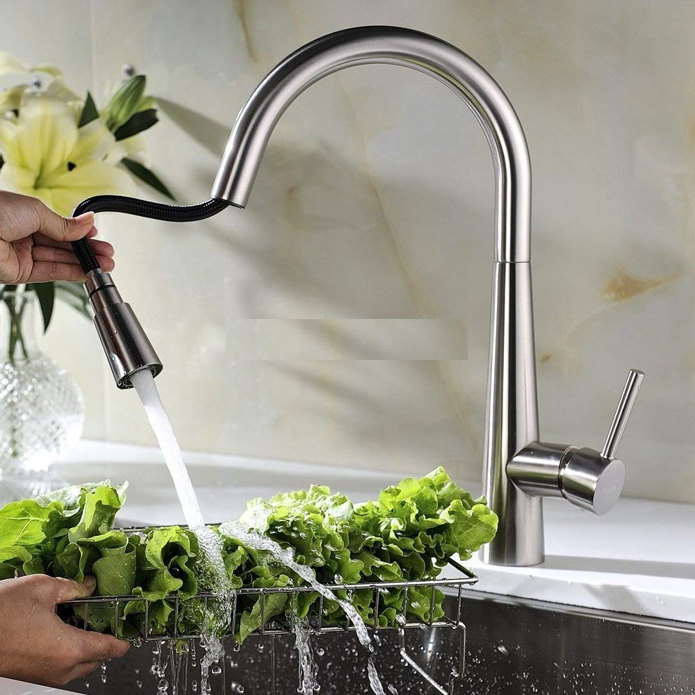 Brushed  Pull Out Kitchen Sink Faucet Single Handle 3Mode Mixer Tap Deck Mount
