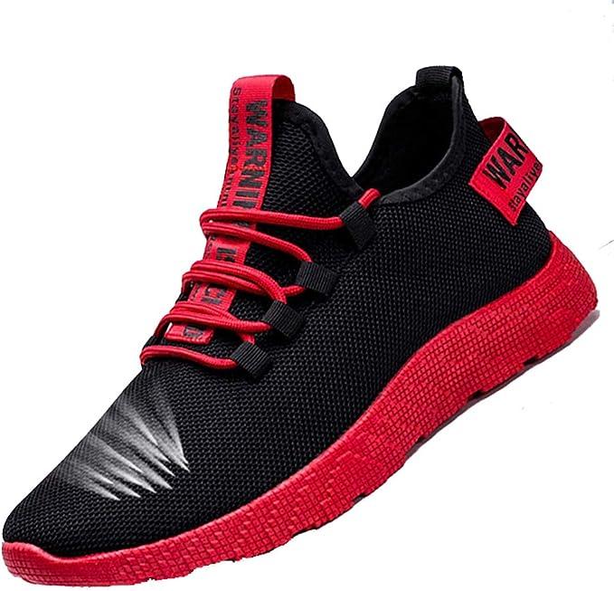 FengWenJing - Zapatillas de Running para Hombre Negro y Rojo. 43 ...