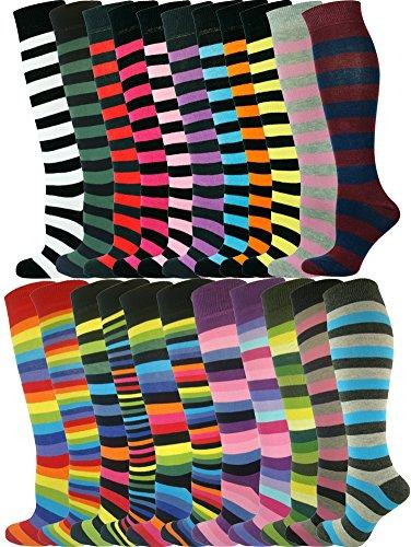 Mysocks Unisex Knee High Long Socks Stripe 22 Pairs by MySocks