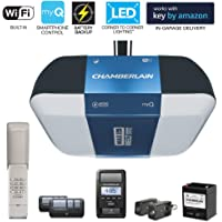 Chamberlain Group 1.25 hp B1381 Bright LED Lighting Smartphone-Controlled Ultra-Quiet & Strong Belt Drive Garage Door Opener with Battery Backup & Max Lifting Power