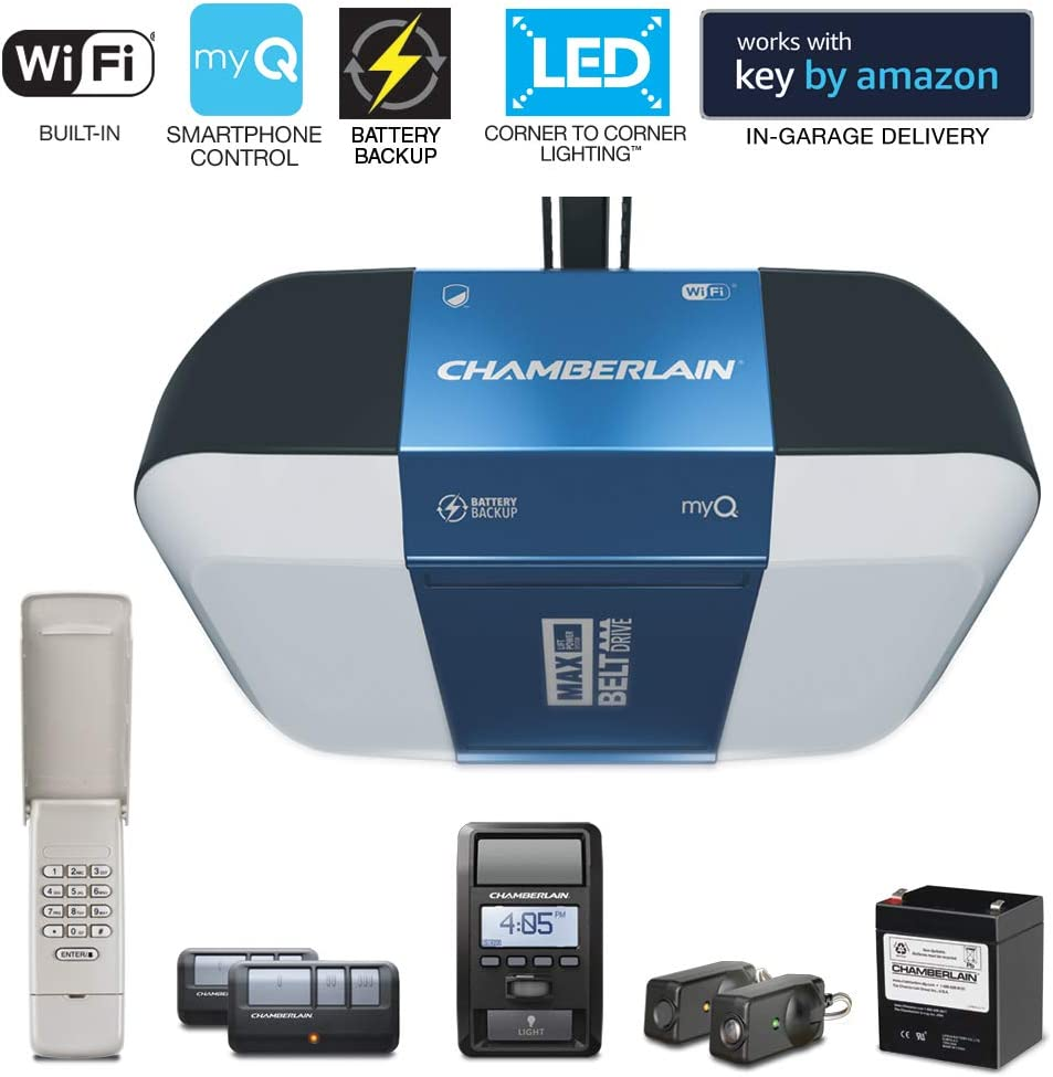 Chamberlain Group Chamberlain B1381 Bright LED Lighting Smartphone-Controlled Ultra-Quiet and Strong Belt Drive Garage Door Opener