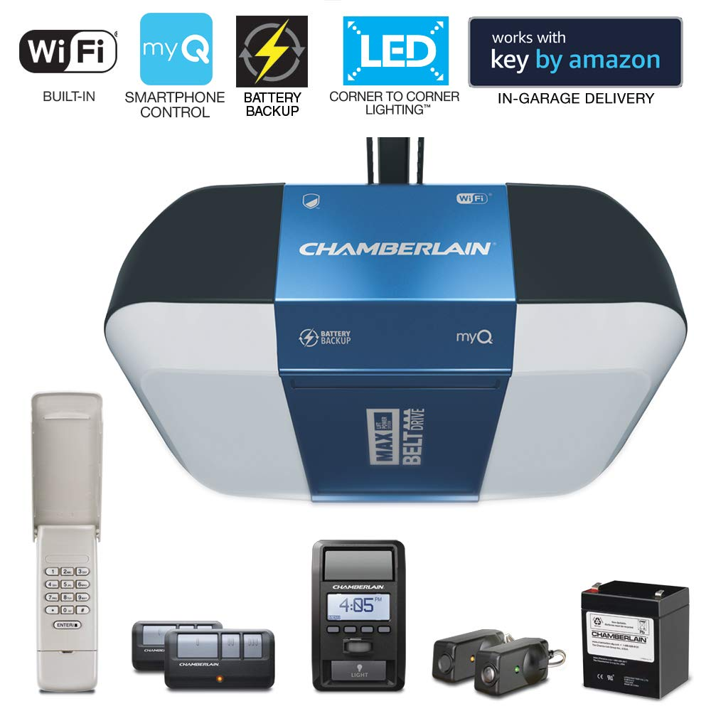 Chamberlain Group Chamberlain B1381 Bright LED Lighting Smartphone-Controlled Ultra-Quiet & Strong Belt Drive Garage Door