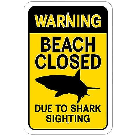 Amazon.com: Plástico Señal Alerta playa cerrado debido a ...
